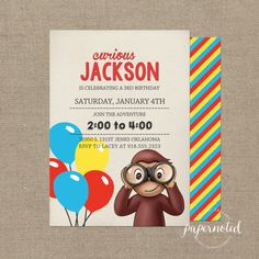 Curious George Invitation // Curious George by papernoted on Etsy, $15.00