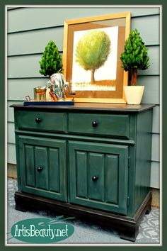 ART IS BEAUTY: Two Toned Buffet Bar Makeover Its Themed Furniture Makeover Day. Come see what I did to the outdated Fake grained old Buffet. http://arttisbeauty.blogspot.com/2014/09/two-toned-buffet-bar-makeover.html #paintedfurniture #themedfurnituremakeoverday #hometalkeveryday #artisbeauty #furnituremakeover #diyproject #furniture