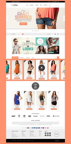 LookShop - Free Responsive PSD Template ecommerc, webdesign, web design, templates, layout, web pages, free respons, lookshop, psd templat