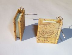 Mini Book Earrings - Old Postcards Are the Best Postcards. $16.99, via Etsy. by TheBookLife