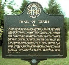 """The Trail of Tears was the forced relocation and movement of Native American nations from southeastern parts of the present-day United States. It has been described as an act of genocide. The phrase originated from a description of the removal of the Choctaw Nation in 1831. Many Native Americans suffered from exposure, disease, and starvation while on route to their destinations, and many died, including 4,000 of the 15,000 relocated Cherokee."""""""