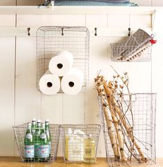 Repurpose wire baskets for storage
