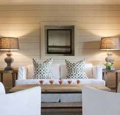 ~horizontal faux wood panel in winter white with natural wood finishings and white cotton furniture