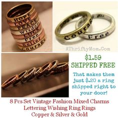 word rings on sale and shipped free, makes a great valentines gift idea or even for a best freind.  Teens or tweens would love these as well...