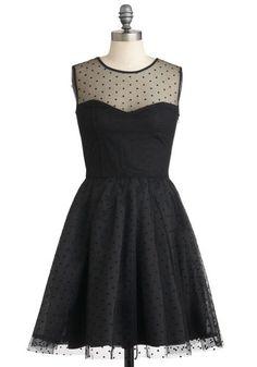 Have It All Dress - Sheer, Mid-length, Black, Party, Film Noir, Ballerina / Tutu, Sleeveless, A-line, Polka Dots