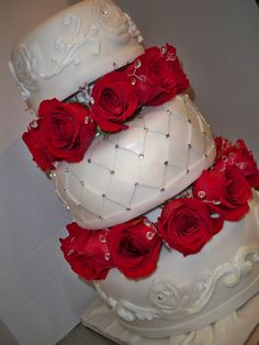 Classic white on white with fresh red roses and a touch of bling by enchanted creations by melissa