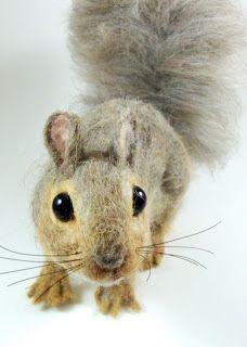 felt critter, needle felting art, robin joy, squirrels, felt anim, craft idea, joy andrea, needl felt, felt art