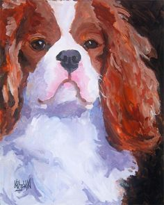 Cavalier King Charles Spaniel Art Print of by dogartstudio on Etsy