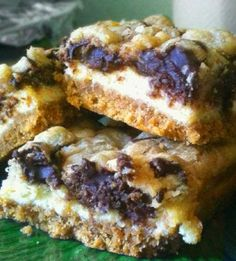 Tasty Chocolate Chip Cookie Dough #Cheesecake_Bars.  Click For Recipe