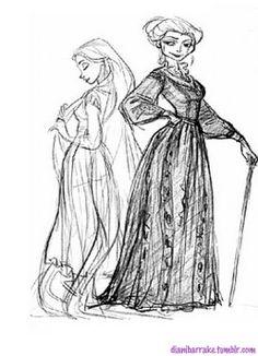 Rapunzel and Gothel  Sketch by: Glen Keane https://www.facebook.com/CharacterDesignReferences