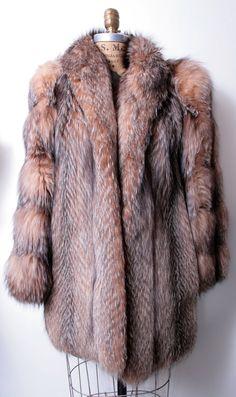 Dolly always keeps warm in fur. | Glamorous Tanuki Fur Coat by thejunkhaus on Etsy