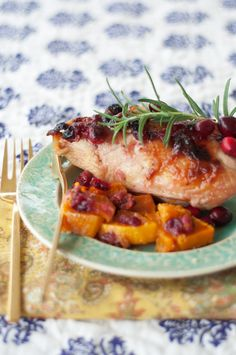 Roasted Cranberry Chicken and Butternut Squash