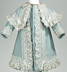 Girl's Coat 1885, American, Made of wool, linen, and lace girl coat, linen
