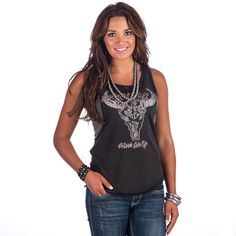 Women's Black and Grey Lace with Longhorn Tank