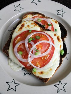 Today's Sandwich: Open-Faced Toasted Mozzarella and Tomato (Homemade)