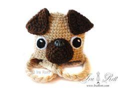 Handmade Crochet Pug Puppy Dog Hat  Starting at $ 35.00 CAD  www.irarott.com