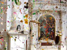 """Falling Garden"" by Swiss artists Gerda Steiner and Jorg Lenzlinger in a 17th-century church in Venice"