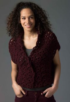 Level 2 Crocheted Vest - Such a darling vest...too bad it doesn't have a cuter title! ;) @lionbrandyarn