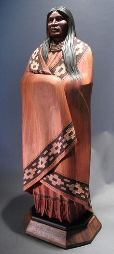 Bill Churchill - Ceremonial Blanket  Native American Mahogany Wood Sculpture!!!