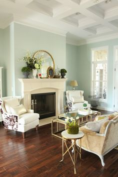 Easy Spring decorating! (Wall color: Sherwin William's Rainwashed)