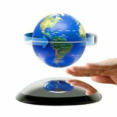 Levitating globe using magnets. Awesome.