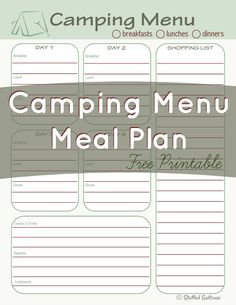 Use this Camping Menu Meal Planning free printable to plan your meals for your next camping trip StuffedSuitcase.com