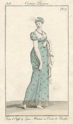 Blue gown with stars, 1808 costume parisien