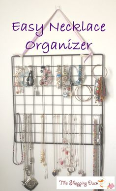 Easy Necklace Organizer from a Wire Cube Panel