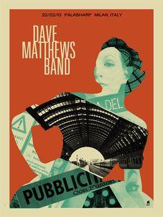 music, milan, band posters, dmb, matthew band, dave matthews band, concert posters, methan studio, the band