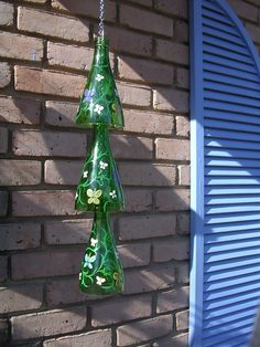 Hanging Glass Garden Windchime handpainted recycled wine bottle chimes by CaliBama08 $35.00