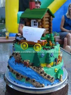 Homemade Little House on the Prarie Cake: I made this homemade Little House on the Prairie cake on August 30, 2009 for my daughter Emma's 7th and my son Rajiv's 5th birthday party. It was homemade