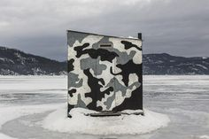 Ice fishing hut on theSaguenay River in Québec, Canada.   Contributed by Claude Guérin.