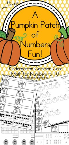 Kindergarten Math - Pumpkin themed numbers to 10