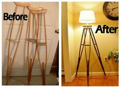 Crutches Upcycled Into Tripod Lamp