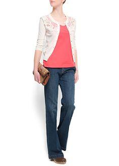 blue jean, coral top