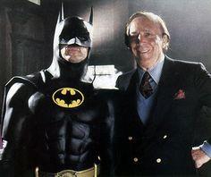 "Michael Keaton and Batman creator Bob Kane on the ""Batman"" set (1989)."