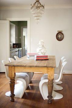 white panton chairs & chunky wood table