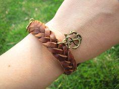 Men or Women Soft Leather Bracelet with Skull by braceletcool, $6.50