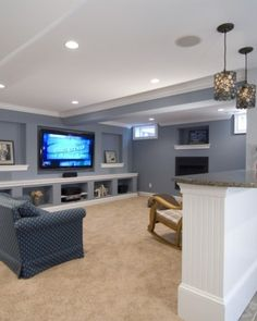 decor, basement colors, wall colors, basement designs, tv walls, hous, shelv, basement idea, basements