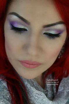 """""""Fairy Dreams""""  TBN's Grape Soda,Heliotrope, Iced Teal and Iced Citrus eye shadows.  Sinful blush on the cheeks and MAC lipstick- Please Me."""