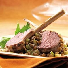 Try this delicious 500-Calorie Dinner Menu with Rack of Lamb with Warm Apple & Lentil Salad, Roasted Asparagus and Sauteed Kale.