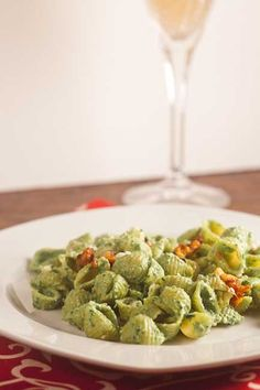 Creamy Spinach Pasta with Chili Pepper and Walnuts