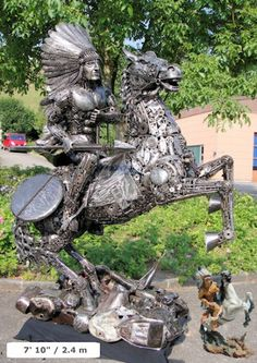 Giant Junk Sculptures Made From Old Car Parts - recycled metal American Indian on horse.