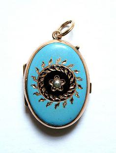 Victorian Blue Enamel Locket.