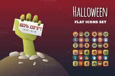 Check out Halloween Flat Icons Set by MastakA on Creative Market