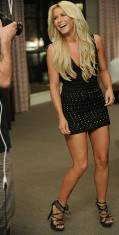 Julianne Hough and her fabulous legs in a little black dress and high heels