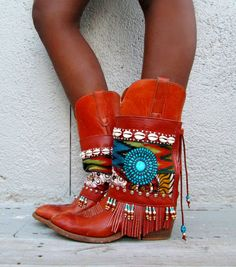 JayBird Tribal Boot cuffs by LotusRootsCreations on Etsy, $89.00 gypsy fashion, cowgirls, tribal boots, boot cuffs, boho boots, deserts, desert jaybird, bohemian, country