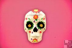 Colorful Mexican skulls designed for the celebrations of the Day of the Dead (El Día de Los Muertos). #Mexico #skull #dead #death #pink #colors #traditions #diadelosmuertos #dayofthedead mexican skulls