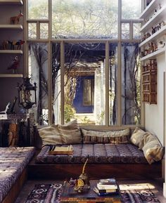 Ah…the '70s…  From article: 36 Stunning Bohemian Homes You'd Love To Chill Out In living rooms, window, dream, bed, reading nooks, hous, place, bohemian interior, loung