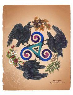 Celtic Raven Triskele Pagan Art Print